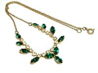 Vintage 1950s emerald green & clear rhinestone necklace signed Czechoslovakia