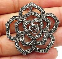 925 Sterling Silver - Vintage Marcasite Flower Designed Slide Pendant - P5827
