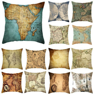 Burlap Cojines Geography Square Pillow Cases Map Art Decorative Cushion Cover