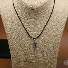 Fashion Silver Plated Arrowhead Pendant Leather Necklace For Men Women Jewelry