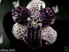 Signed Swarovski Amethyst Colored Crystal Flower Pin ~ Brooch Retired New