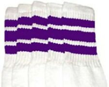 "25"" KNEE HIGH WHITE tube socks with PURPLE stripes style 1 (25-38)"