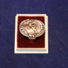 Beautiful 925 Silver Ring With Marcasite And Abalone M.O.P.5.3 Gr.2.6x2 Cm Wide