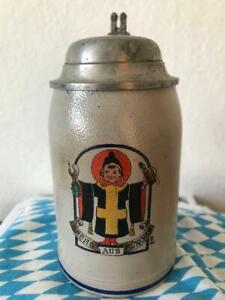 Bierkrug Franz Ringer Gruss aus München  1/4 L Jugendstil Zinndeckel 1929  rar