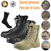 MENS ARMY LEATHER WATERPROOF MILITARY COMBART ANKLE BOOTS DESERT WORK SHOES SIZE