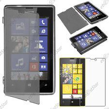 Housse Etui Coque Portefeuille Silicone Gel TPU Noir Nokia Lumia 520 + Verre