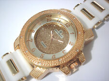 Iced Out Bling Bling Big Case Rubber Band Men's Watch Rose White Item 2639