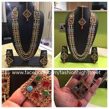 Indian Bollywood Bridal Multicolor Long necklace, earrings & Tikka