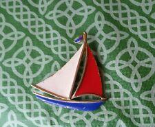 Vintage Retro Sailboat Yacht Ship Enamel JJ Signed Pin Brooch FREE SHIPPING