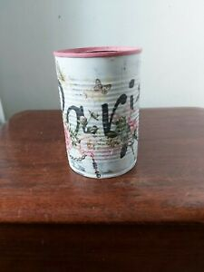 """Hand-Decoupaged  and painted Vintage Style Shabby Chic Tin Can. """"Paris """" theme."""