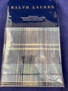 Ralph Lauren Artisan Loft Jasper Plaid Blue Euro Pillow Sham Cotton 26x26 nip