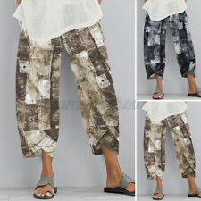 ZANZEA Mujeres Pantalones de Algodón Vintage Pantalones Estampado Floral Elástico contorneada Pantalón Suelto