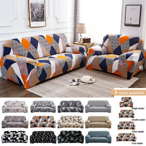 1/2/3/4 Seater Geometry Printed Home Slipcovers Couch Stretch Covers Sofa Lots #