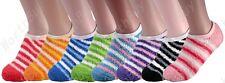 Non Skid 6 Pairs Womens Soft Cozy Fuzzy Warm Striped Low Slipper Socks Size 9-11