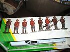 Lot of 8 Old Cast Iron Military Toy Soldiers in Red & Blue Uniform Mounties?