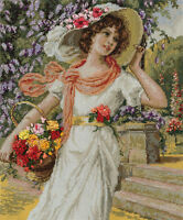 "Counted Cross Stitch Kit PANNA - ""Girl with a basket of flowers"""
