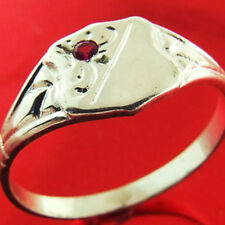 FS31 GENUINE REAL 925 STERLING SILVER RUBY ANITQUE DESIGN SIGNET RING SIZE M 6