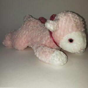 Dan Dee Plush Pink White Lamb Sheep Neck Ribbon 10 inch Stuffed Animal