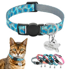 Personalized Nylon Cat Collar Breakaway Buckle Collar Pet Kitten ID Engraved Tag