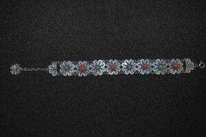 Silber-Armband aus feinem Silberdraht, mit roten Steinen, Silber geprüft, 18cm