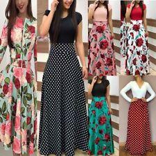 Women Floral Maxi Dress Hawiian Evening Party Summer Beach Casual Long Sundress