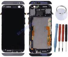ECRAN LCD + VITRE TACTILE SUR CHASSIS BLOC COMPLETE POUR HTC ONE M8 GRIS NOIR