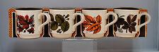 Vtg Biltons 4 Pc Set Ironstone Coffee Mug Cup Red Green Leaf Leaves Tableware