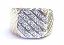 Fine Men's 5-Row Round Cut Diamond Yellow Gold Jewelry Ring 14KT 1.20CT