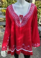 Womens Red Tunic White  Embroidered 3/4 Sleeve V Neck Top Hi-Lo Hem 3X