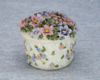 Small Floral Basket Trinket Box with Lid