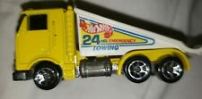 1986 Hot Wheels Yellow Tow Truck 24 Hr Hour Emergency Towing Rollback Ramp