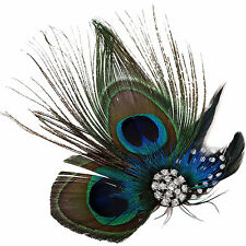 New Bride Wedding Party Hair Jewelry Crystal Peacock Feather Hair Clip Headpiece
