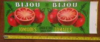 TOMATOES BIJOU GLOSSY  tin can label vintage 1940's french Canadian fruits