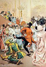 ESTAMPE 19è DANSE BAL masqué Adrien MARIE arlequin...  typogravure 1886 Gillot