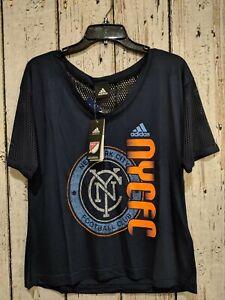 LZ Womens Small Adidas Short Sleeve Tee Shirt TShirt NYC Football Club Navy