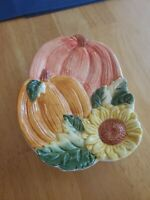 "Sunflower and Pumpkins Spoon Rest/Trinket Dish/Wall Decor 7""×5""×1.5"""