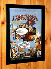 2012 Deponia Video game Rare Small Poster / Ad Page Framed Playstation 4