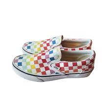 VANS Classic Slip-On Rainbow Checkerboard Women's 6/Men's 4.5 Pride Shoes