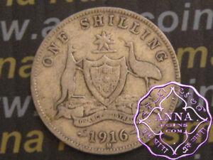 Australia 1916 George V Shilling X1, Average Circulated Condition