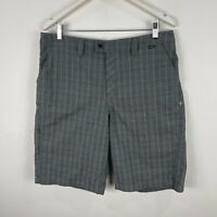 Hurley Mens Shorts 34 Grey Plaid Bermuda Zip Closure Pockets