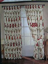 Pair Lined Long Drop Cotton Floral Curtains