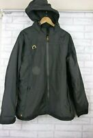 Cat Caterpillar mens black hooded jacket coat yellow trim sz 2XL