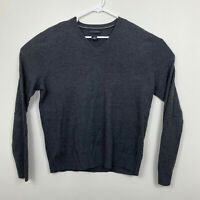 Banana Republic V-Neck Sweater Extra Fine Merino Wool Mens Sz L Charcoal Gray