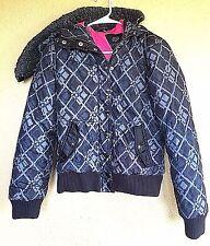 Fox Racing Gray Black Pink Geometric Puffer Coat Jacket Hood Size Small S EUC
