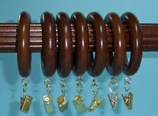 Mahogany Wood Clip Rings! 7 Per Package! By Kirsch! Free Shipping!(5602Eg083)
