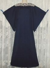 VTG LUCIE ANN NAVY GLAM Hostess ROBE Dress Nightgown Negligee Gown Rhinestones L