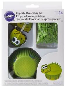 Dinosaur Turtle Cupcake Green Cup Cake Decorating Kit 24 Sets Party New