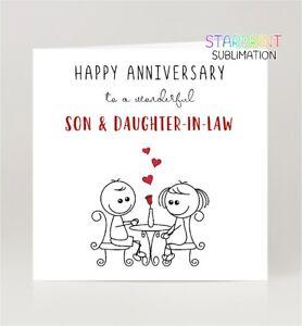 Son & Daughter-in-Law Anniversary Card, Fun Wedding Greeting Card, Blank Inside
