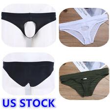US _Sexy Men's Lingerie Tanga Thong Open Front Hole Bikini Swim Briefs Underwear