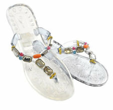 LADIES GIRLS JEWEL GEM JELLY FLIP FLOP SANDALS TRANSPARENT GREY Size 3 4 5 6 7 8